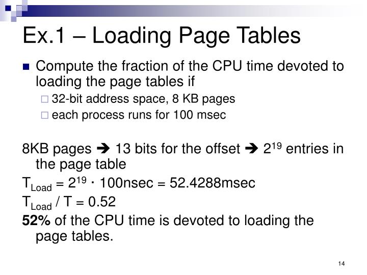 Ex.1 – Loading Page Tables