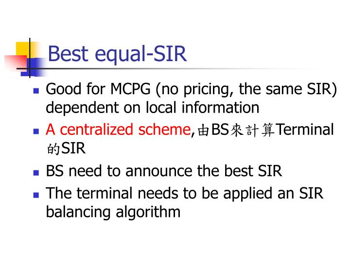 Best equal-SIR