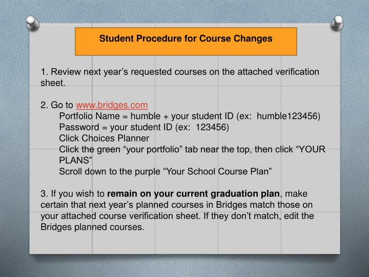 Student Procedure for Course Changes