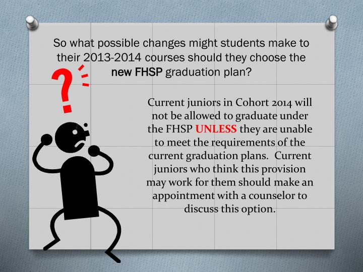 So what possible changes might students make to their 2013-2014 courses should they choose the