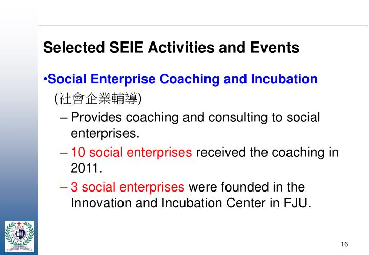 Selected SEIE Activities and Events