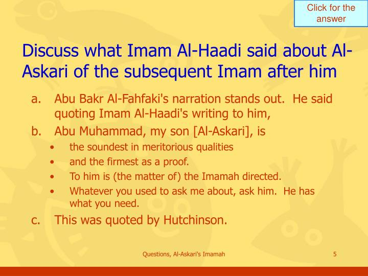 Discuss what Imam Al-Haadi said about Al-Askari of the subsequent Imam after him