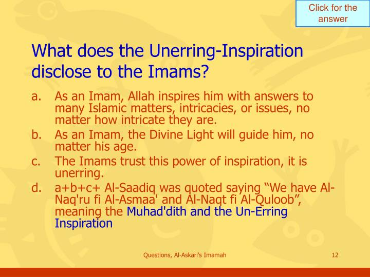 What does the Unerring-Inspiration disclose to the Imams?
