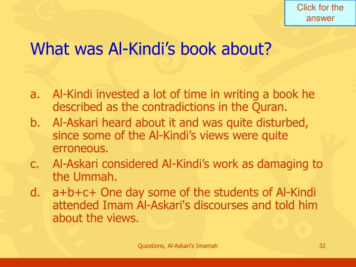 What was Al-Kindi's book about?