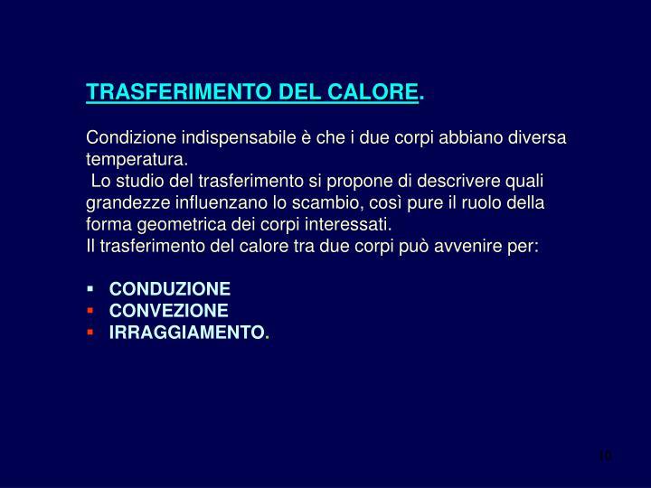 TRASFERIMENTO DEL CALORE