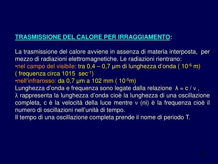 TRASMISSIONE DEL CALORE PER