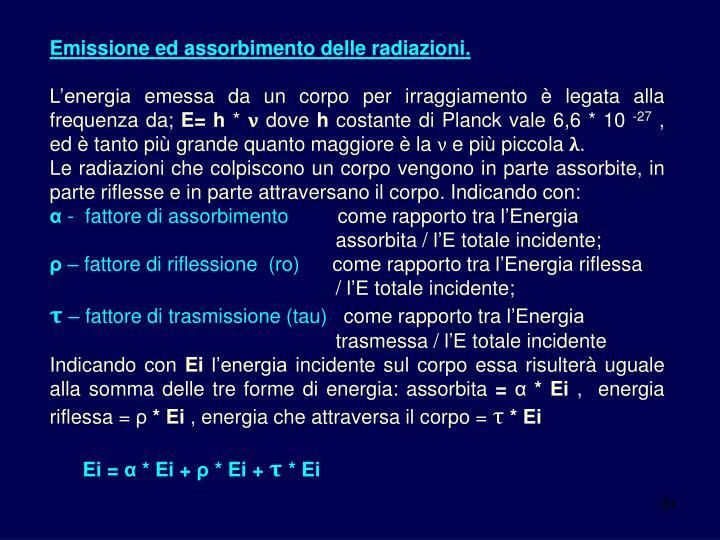 Emissione ed assorbimento delle radiazioni.