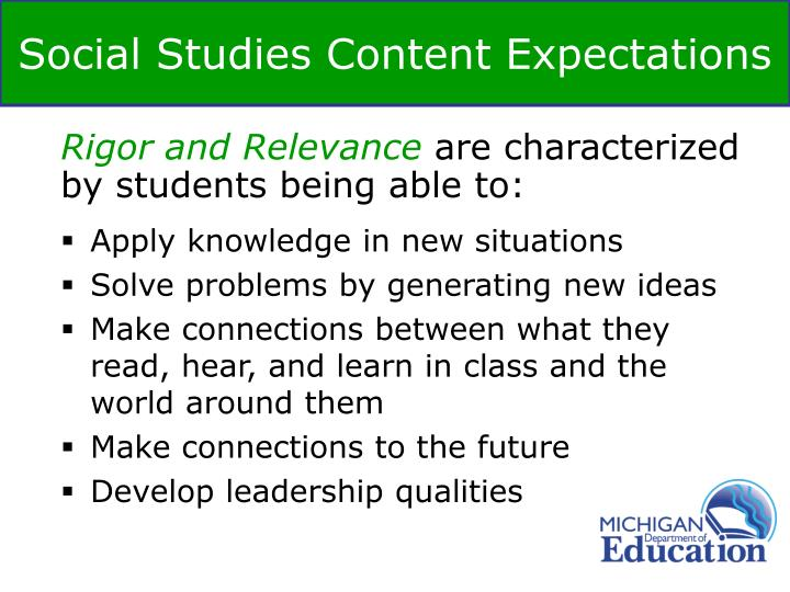 Social Studies Content Expectations