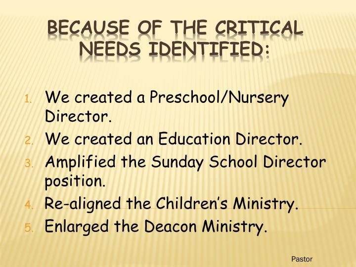 We created a Preschool/Nursery Director.