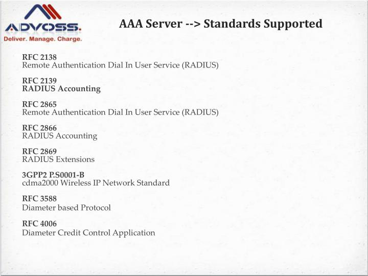 AAA Server --> Standards Supported