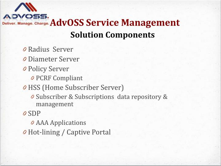 Advoss service management solution components