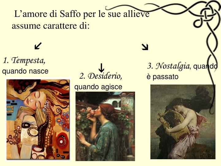 L'amore di Saffo per le sue allieve assume carattere di: