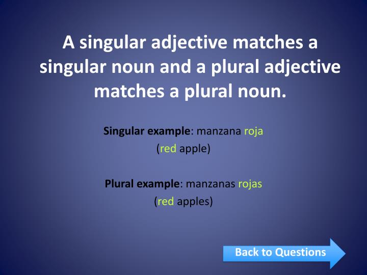 A singular adjective matches a singular noun and a plural adjective matches a plural noun.