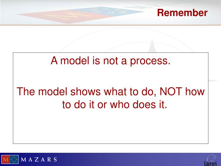 A model is not a process.
