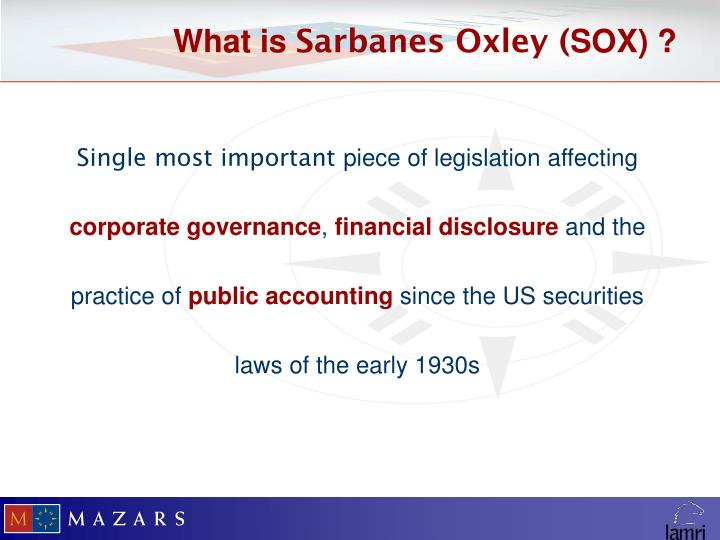 What is sarbanes oxley sox