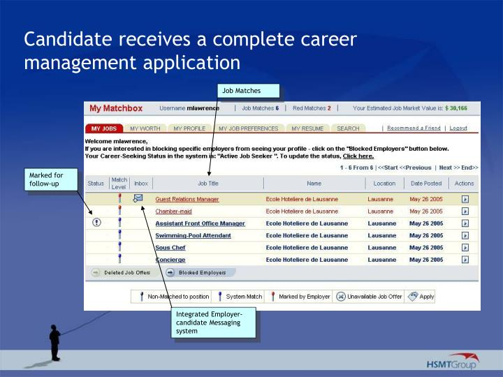 Candidate receives a complete career management application