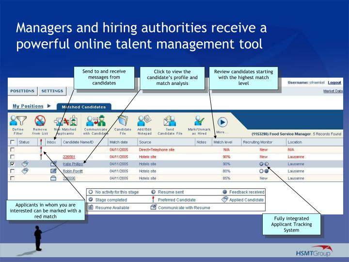 Managers and hiring authorities receive a powerful online talent management tool