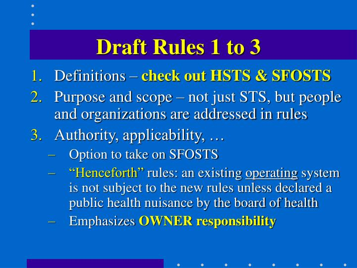 Draft Rules 1 to 3
