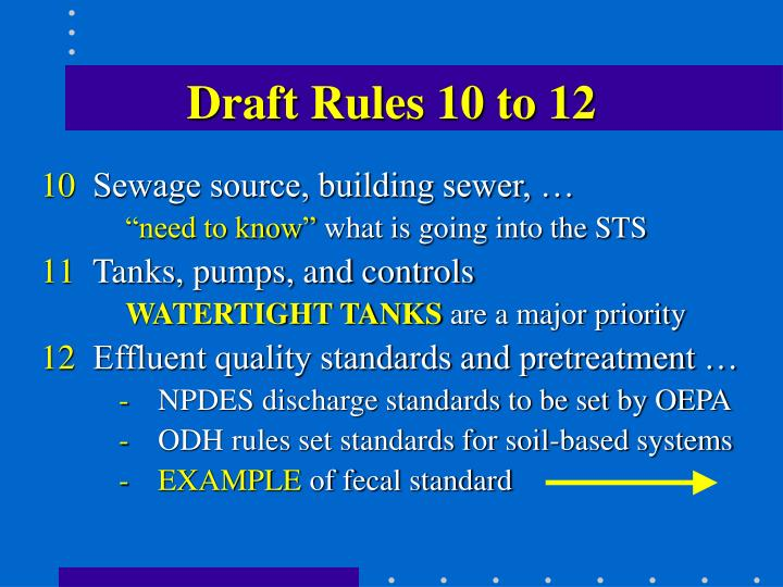 Draft Rules 10 to 12