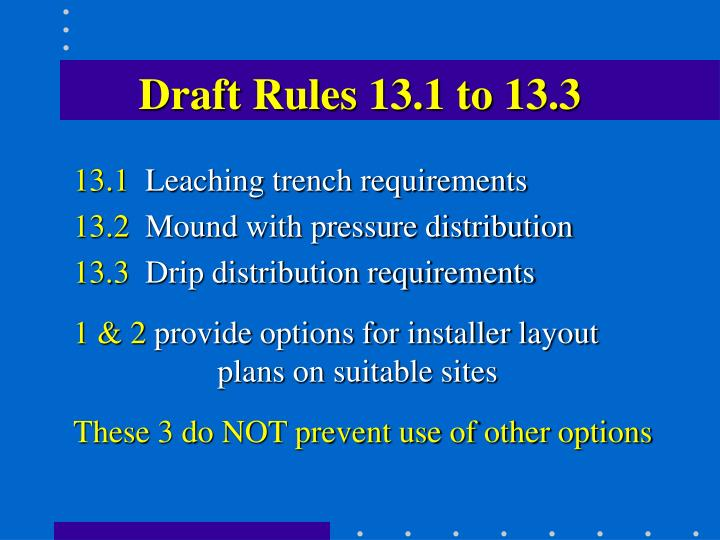 Draft Rules 13.1 to 13.3