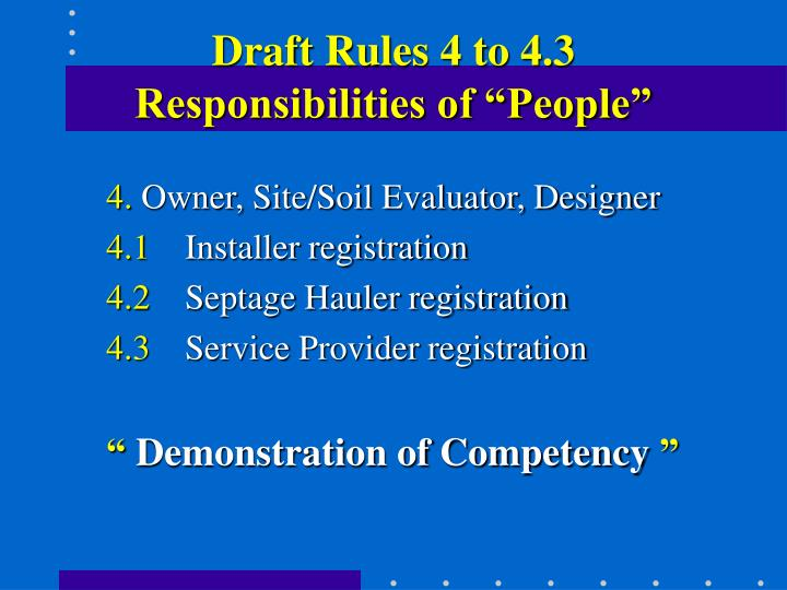 Draft Rules 4 to 4.3