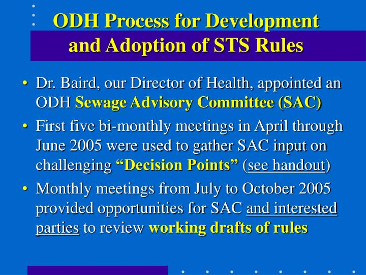 ODH Process for Development and Adoption of STS Rules