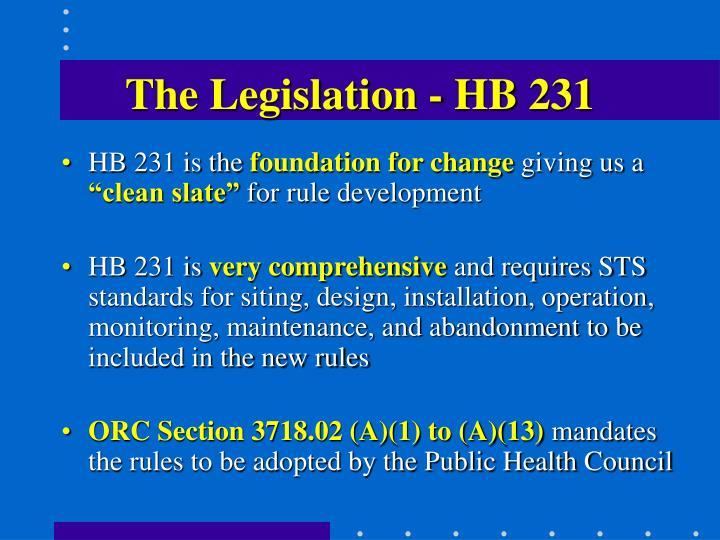 The Legislation - HB 231