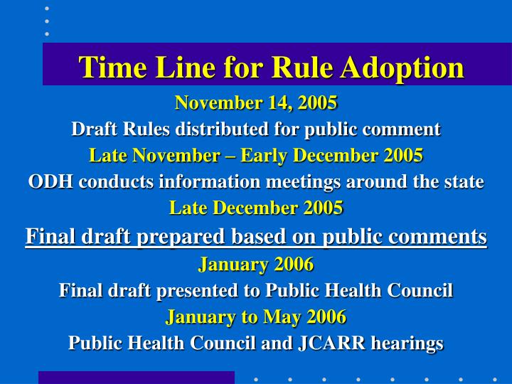 Time Line for Rule Adoption