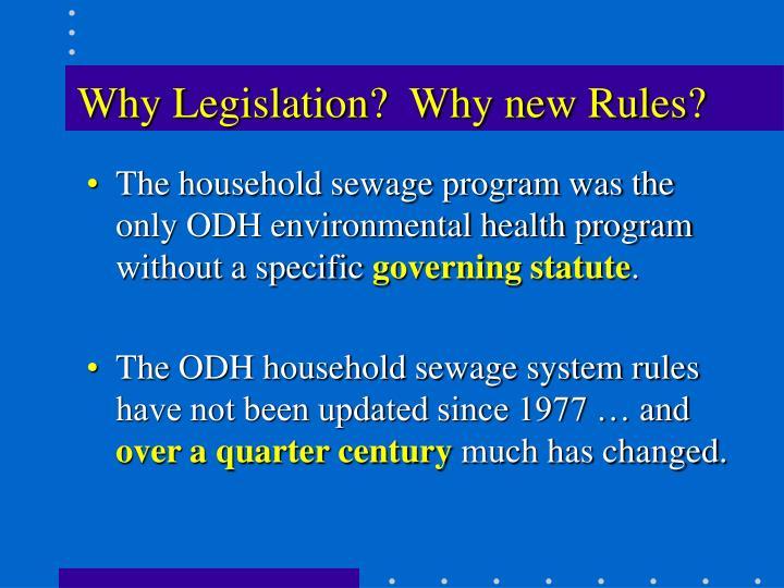 Why Legislation?  Why new Rules?