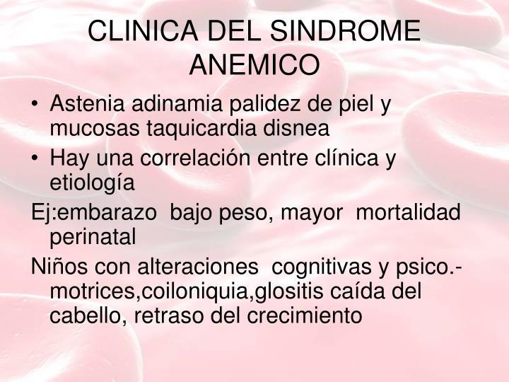 CLINICA DEL SINDROME ANEMICO