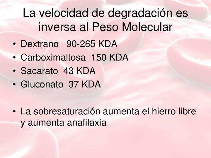 La velocidad de degradación es inversa al Peso Molecular