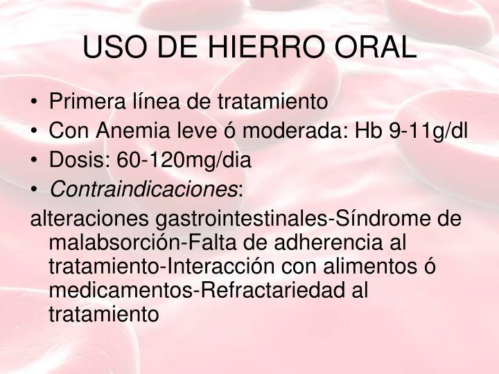 USO DE HIERRO ORAL