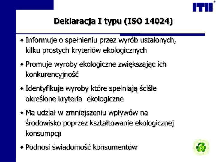 Deklaracja I typu (ISO 14024)