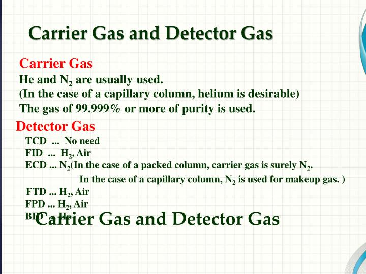 Carrier Gas and Detector Gas