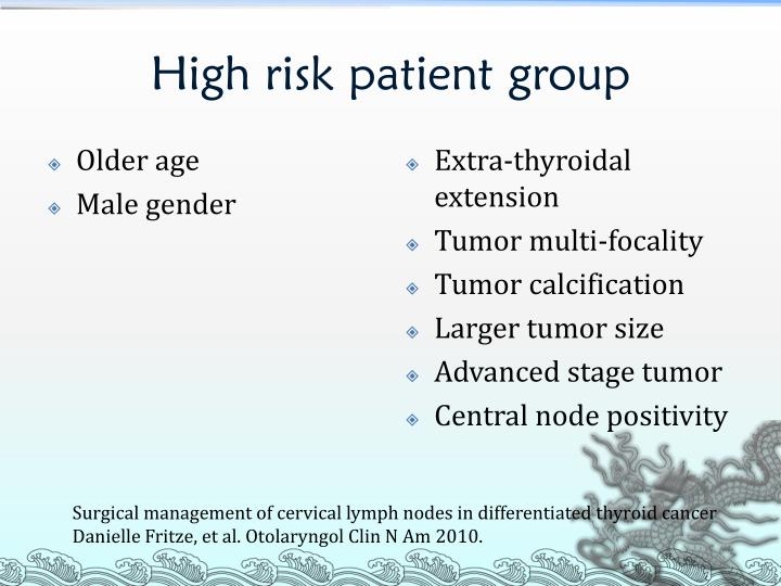 High risk patient group