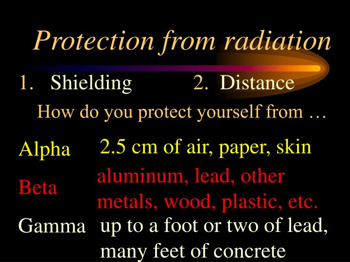 Protection from radiation