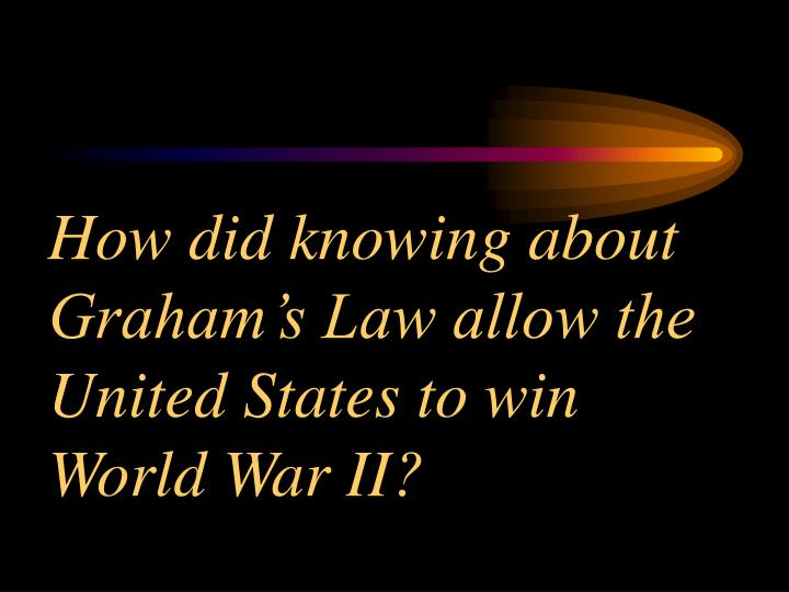 How did knowing about Graham's Law allow the United States to win World War II?