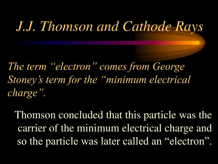 "The term ""electron"" comes from George Stoney's term for the ""minimum electrical charge""."