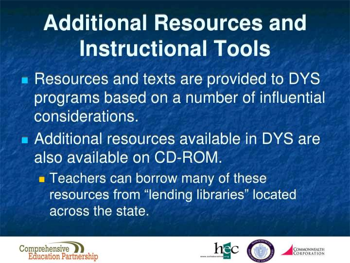 Additional Resources and Instructional Tools