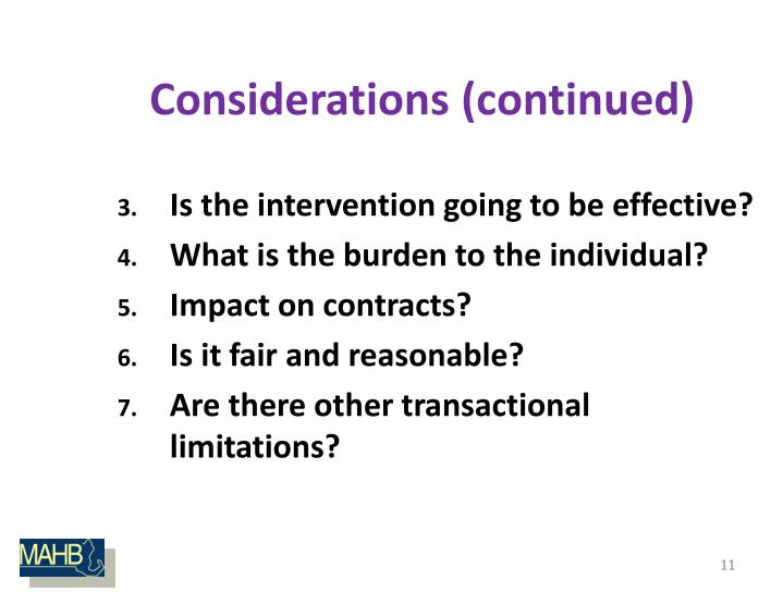 Considerations (continued)