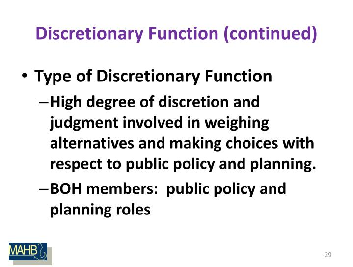 Discretionary Function (continued)