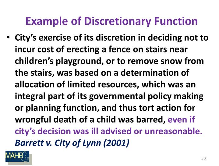 Example of Discretionary Function