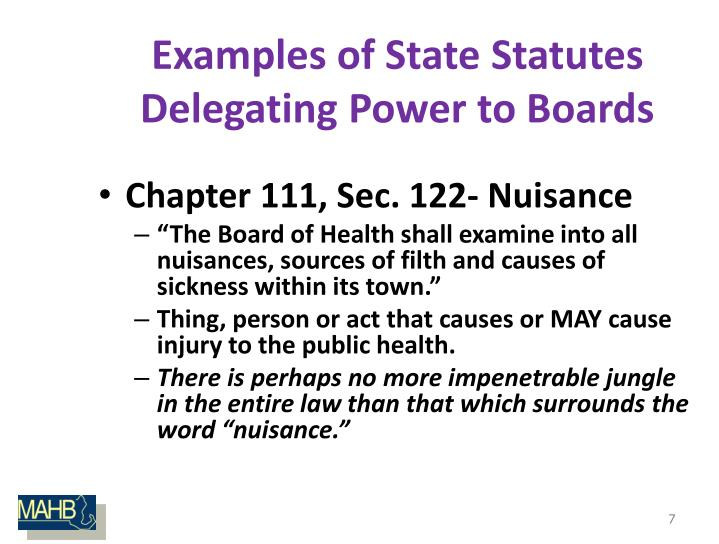 Examples of State Statutes Delegating Power to Boards