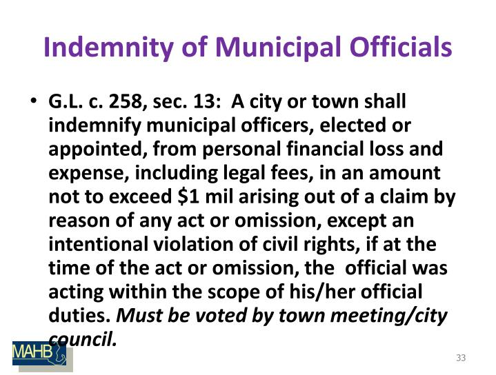 Indemnity of Municipal Officials
