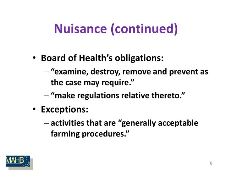 Nuisance (continued)