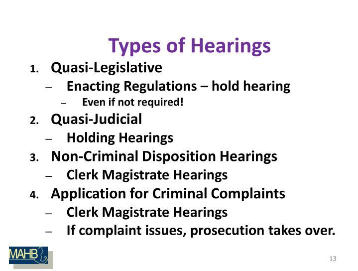 Types of Hearings