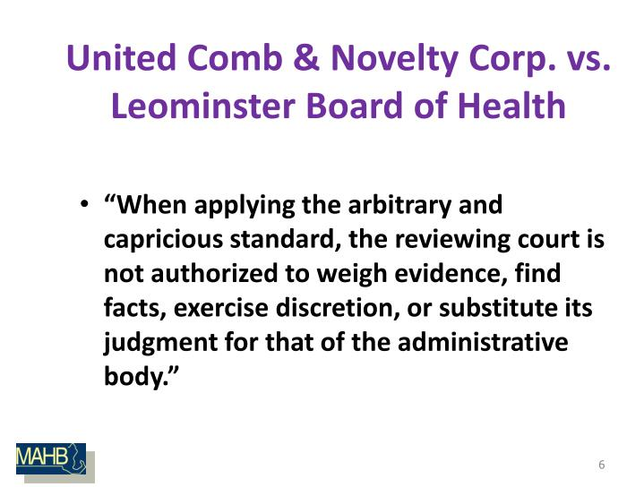 United Comb & Novelty Corp. vs. Leominster Board of Health