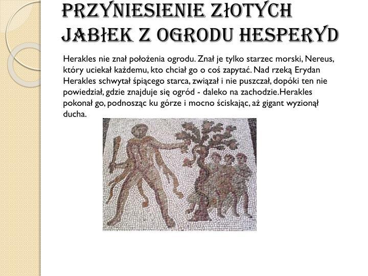 Przyniesienie złotych jabłek z ogroduHesperyd