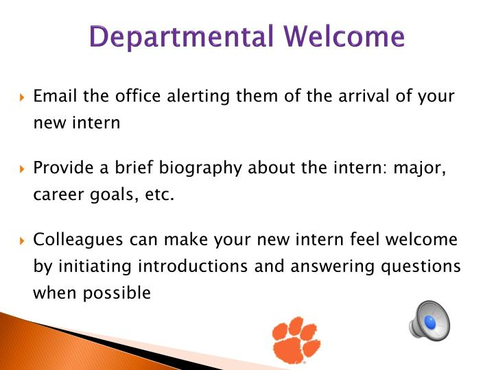 Departmental Welcome