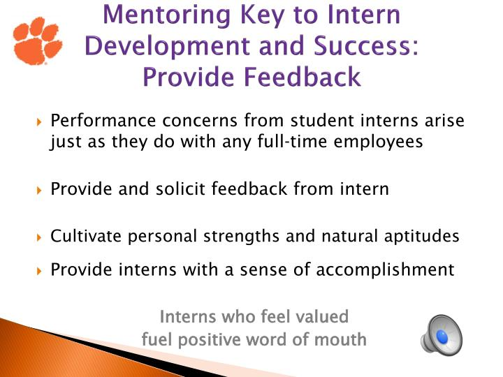 Mentoring Key to Intern Development and